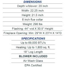 specifications for the us stove medium epa certified wood burning fireplace insert
