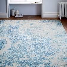 distressed ornament wool rug cobalt