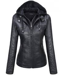 tanming womens hooded leather jackets