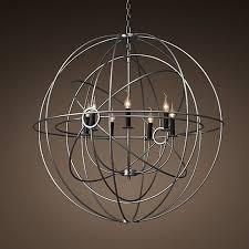 foucault s orb chandelier large twin orb matte natural iron