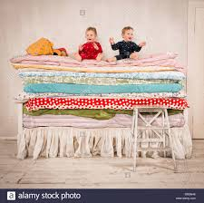 princess and the pea bed. Children Playing On Bed - Princess And The Pea. Stock Image Pea