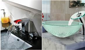 led u0026 glass waterfall bathroom faucets modern bathroom faucets o42