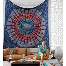 Tapestry Bedroom Indian Blue Orange Mandala Queen Size Boho Wall Bedding