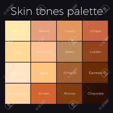 Beige Color Chart Skin Tones Palette Vector Skin Color Chart