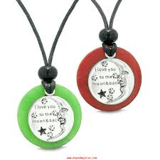 i love you to the moon and back best friends medallions amulets red green quartz