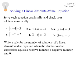 solving a linear absolute value equation solve each equation graphically and check your solution numerically