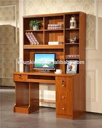 wooden computer desk with bookshelf cabinet drawer oak wood intended for designs 3