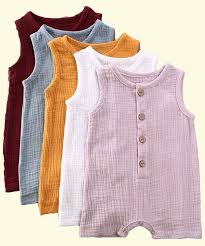 Newborn <b>Infant's Summer</b> Solid Color Rompers, Baby Girl/Boy ...