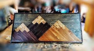 wood mountain wall art large rustic