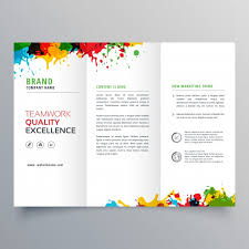 2 Folded Brochure Template Trifold Business Brochure Template With Colorful Paint