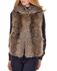 the natural rac fur vest with collar for women made