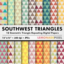 Southwest Pattern Awesome Southwestern Triangle Digital Paper Scrapbooking Paper Etsy