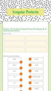 Spanish Tener Chart Worksheet 510 Preterite Tense Of Hacer And Decir Kids