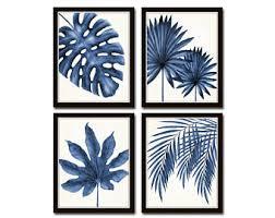 indigo blue watercolor tropical leaf print set giclee art print print sets botanical prints coastal art tropical leaves wall art on tropical wall art sets with botanical leaf art etsy