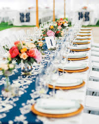 Long Reception Table with Blue Ikat Runner