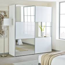 mirror wardrobe. loft two door sliding wardrobe white glass with mirror o