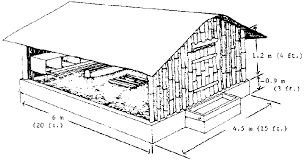 Appendix A  Housing designsCut   away view of deep   litter house for warm climates  Enclose in wire mesh or wooden or bamboo slats  This house can hold broilers or layers