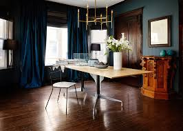 dining room chandelier brass. Simple Dining Room With Brass Chandelier And Blue Curtains