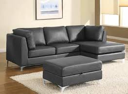 Modern Brown Leather Couches Black Sectional Sofa With Chaise Design