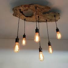 rustic and industrial light fixture custom made medium live edge olive wood chandelier rustic and industrial light fixture