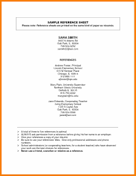 Reference Sheet Examples Reference Sheet For Resume Resume and Cover Letter Resume and 1