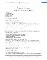 Sales Resume Objectives Madrat Co Account Representative Sample