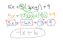 showme multi step equation with distributive and combining like terms