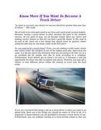 Know more if you want to become a truck driver by Trucker Search - issuu