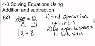 pre algebra 4 3 solving equations using addition and subtraction