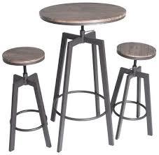 zenvida 3 piece round pub table and stool set wood top metal bar bistro chairs