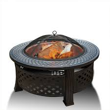 details about 3 in 1 large fire pit heater enclosure metal cover round table garden patio 81cm