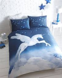 blue mystical unicorn duvet cover bed set double co uk kitchen home