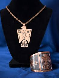 vine signed copper bell thunderbird necklace and native copper thunderbird cuff wm co bracelet