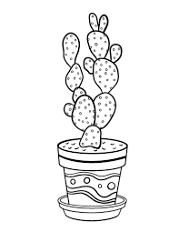 Small Picture Free Cactus Coloring Page
