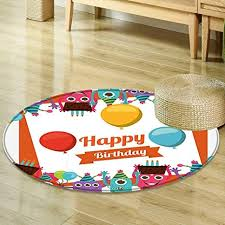 Happy Home Furniture Mesmerizing Amazon Round Rug Kid Carpet Birthday Decorations Funny Happy