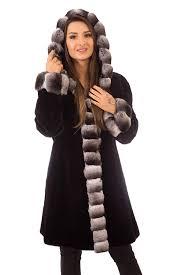 sheared mink fur coat jacket black reversible with hood chinchilla trim
