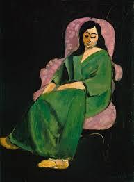 Laurette in a Green Robe, Black Background | Henri Matisse ...