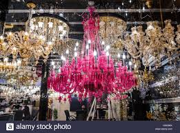 pink chandelier lighting. Pink Chandelier In One Of Many Lighting Shop On Lalehzar Street Tehran City, Capital Iran And Province