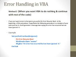 Professional Training Courses British Council Excel Vba On Error