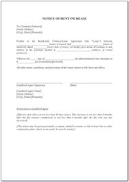 Notice Of Rent Increase Form Letter To Increase Rent Template Barrest Info