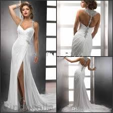 2017 new beading sheath wedding dresses side split spaghetti