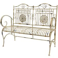 garden benches metal. Amazon.com: Oriental Furniture Rustic Metal Garden Bench - Distressed White: Kitchen \u0026 Dining Benches
