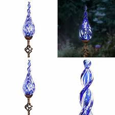 Outdoozie Outdoor Glass Solar Light Solar Garden Stake Lights Glass Blue Twisted Flame Stakes Handblown Finial Led A