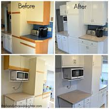 before and after grid of photos showing painted melamine cabinets with oak trim