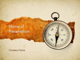 Parchment Powerpoint Background Compass On Parchment Presentation Template For Powerpoint