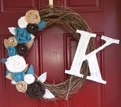 initial wreaths for front doorA Front Door Initial Wreath  7 Unique Christmas Wedding Gift