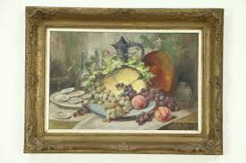 oysters fruit still life antique oil painting carved frame signed