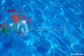 swimming pool beach ball background. Beach Ball Floating In A Blue Swimming Pool. Summer Background. Pool Beach Background