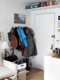 furniture: Classy Style Of Apartment Entryway With Stainless Steel Hook  Attached On The Wall Also