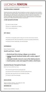 cv for beauty therapist cv example for full time job myperfectcv